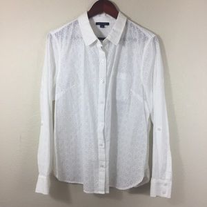 Tommy Hilfiger White Eyelet Button Up Shirt XL